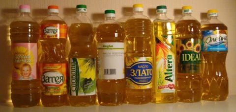 Подсолнечное масло от разных производителей