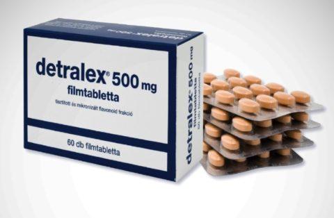 Детралекс – наиболее популярное лекарственное средство при варикозе.