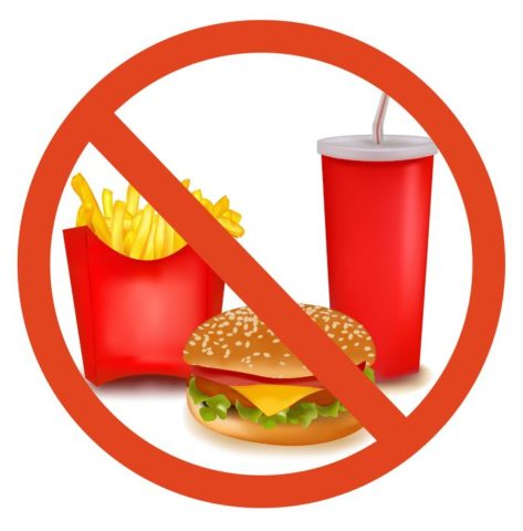 Не рекомендуется есть еду из фастфуда.