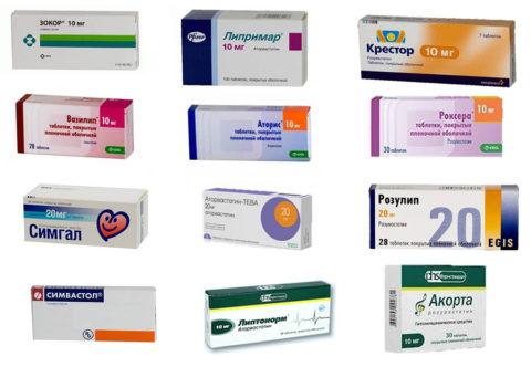 Препараты (статины) для лечения высокого холестерина